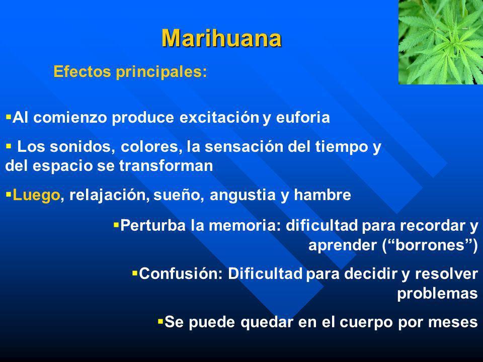 Marihuana Efectos principales: