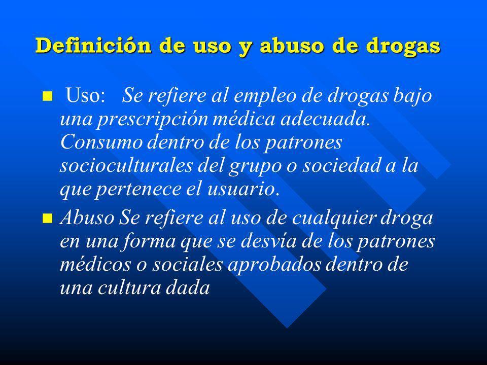 Definición de uso y abuso de drogas