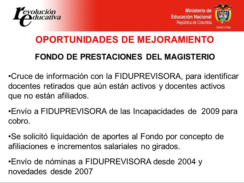 OPORTUNIDADES DE MEJORAMIENTO FONDO DE PRESTACIONES DEL MAGISTERIO
