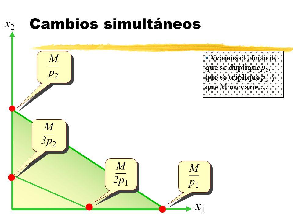 Cambios simultáneos x2 x1 M — p2 M — 3p2 M M — —  2p1 p1   