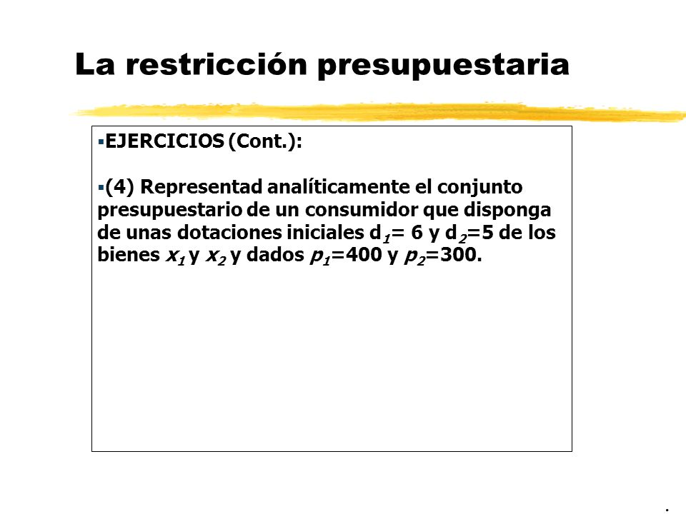 La restricción presupuestaria