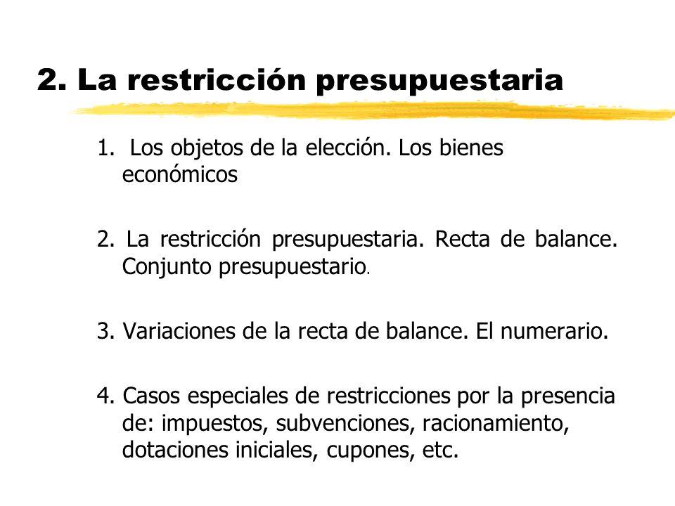 2. La restricción presupuestaria