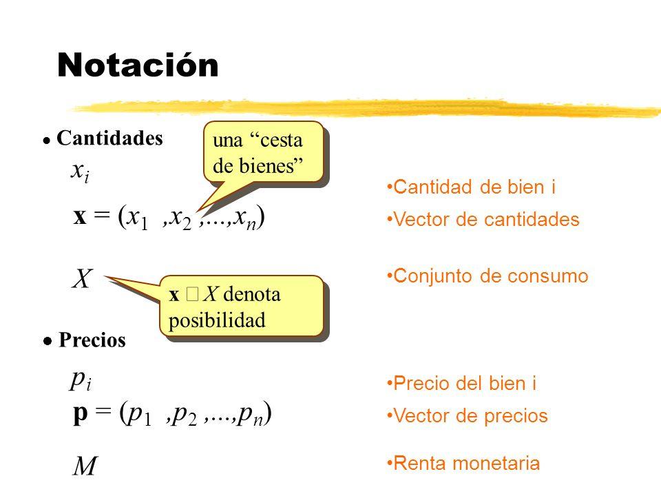 Notación xi x = (x1 ,x2 ,...,xn) X pi p = (p1 ,p2 ,...,pn) M