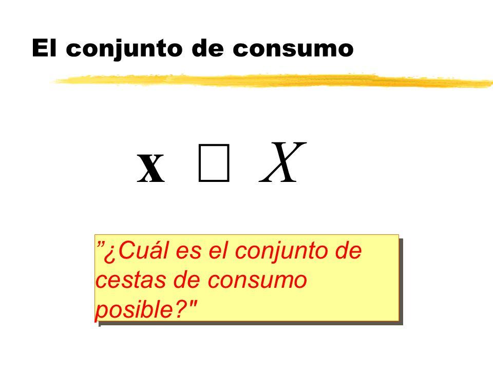 x Î X El conjunto de consumo