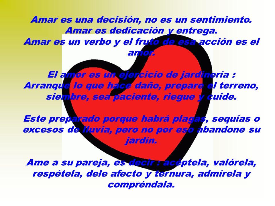 Amar es una decisión, no es un sentimiento.