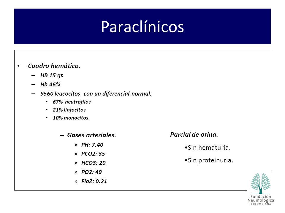 Paraclínicos Cuadro hemático. Gases arteriales. Parcial de orina.