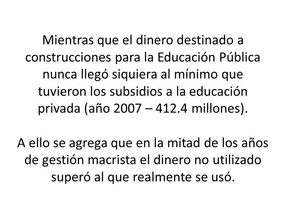 Mientras que el dinero destinado a construcciones para la Educación Pública nunca llegó siquiera al mínimo que tuvieron los subsidios a la educación privada (año 2007 – 412.4 millones).