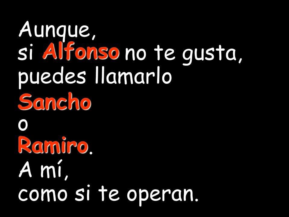 Aunque, si Alfonso no te gusta, puedes llamarlo. Sancho. o. Ramiro. A mí, como si te operan. Alfonso.
