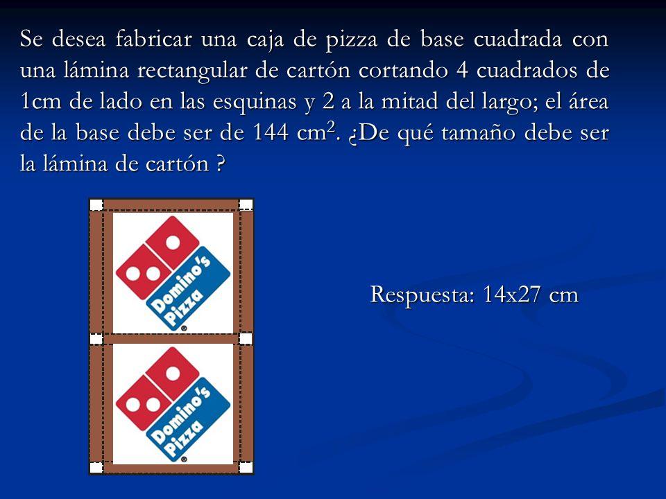 Se desea fabricar una caja de pizza de base cuadrada con una lámina rectangular de cartón cortando 4 cuadrados de 1cm de lado en las esquinas y 2 a la mitad del largo; el área de la base debe ser de 144 cm2. ¿De qué tamaño debe ser la lámina de cartón
