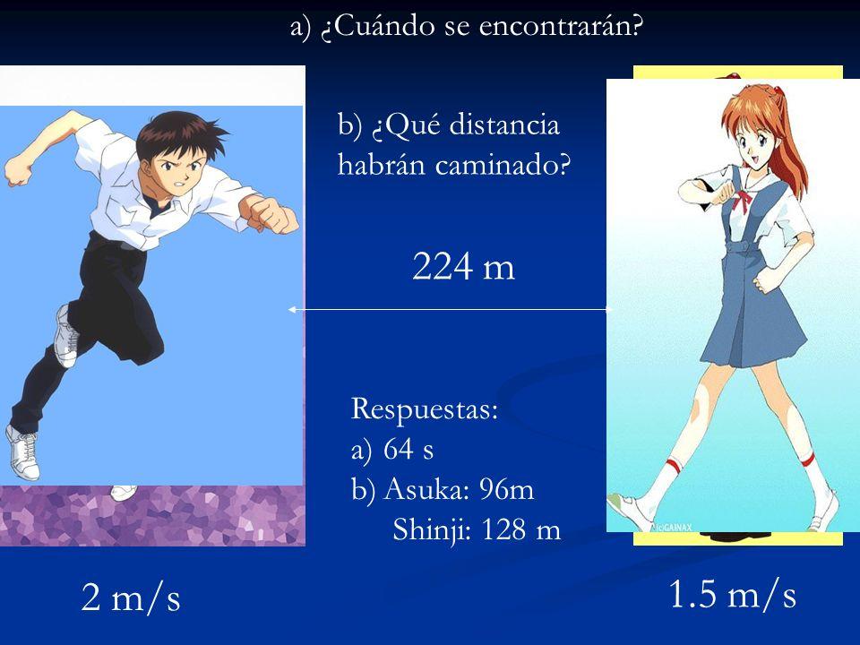 224 m 1.5 m/s 2 m/s a) ¿Cuándo se encontrarán b) ¿Qué distancia
