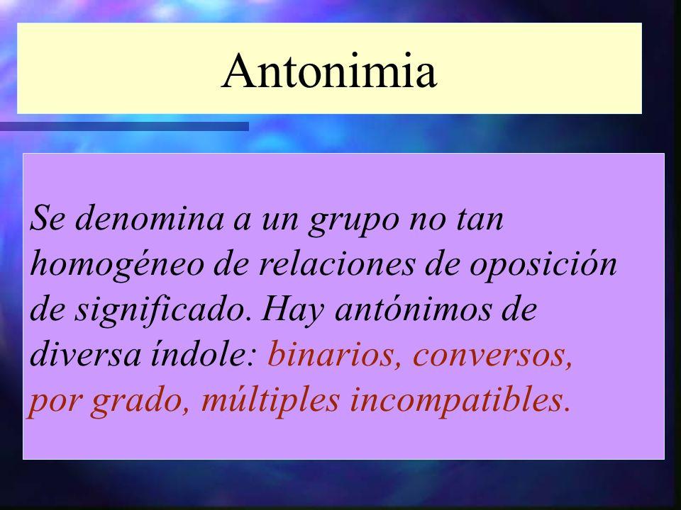 Antonimia Se denomina a un grupo no tan