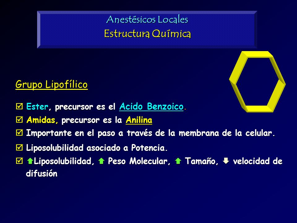 Estructura Química Anestésicos Locales Grupo Lipofílico