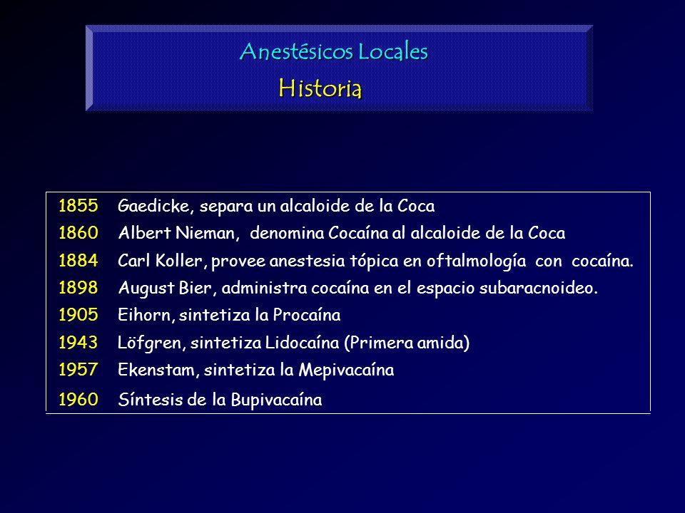 Historia Anestésicos Locales Gaedicke, separa un alcaloide de la Coca