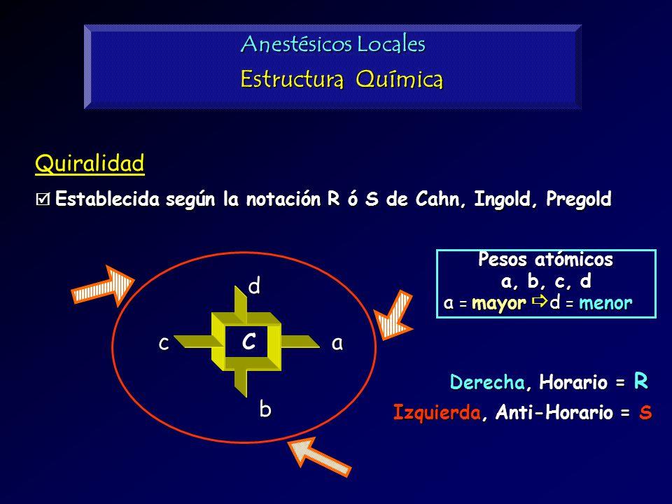 Estructura Química Anestésicos Locales Quiralidad d a b c C