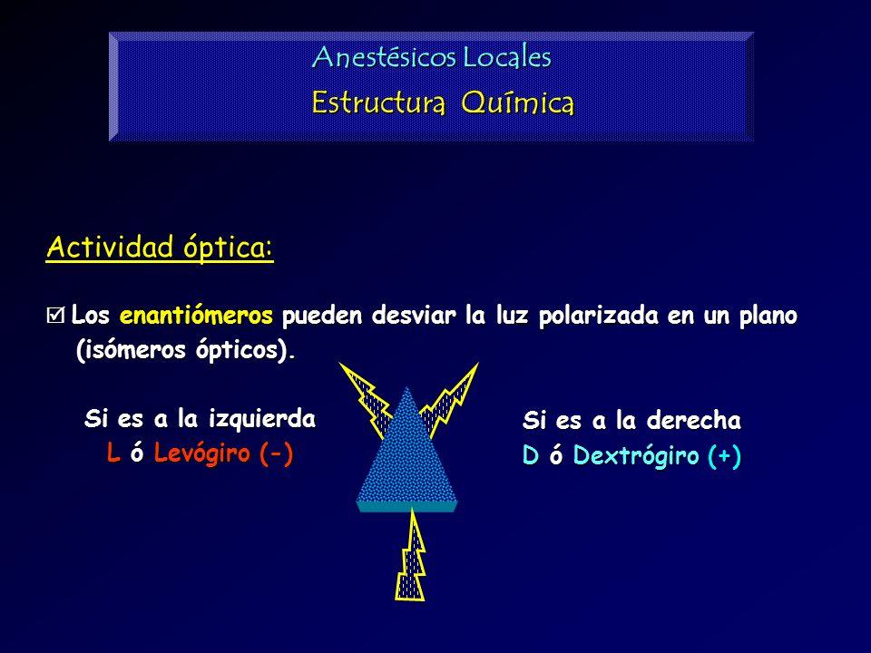 Estructura Química Anestésicos Locales Actividad óptica: