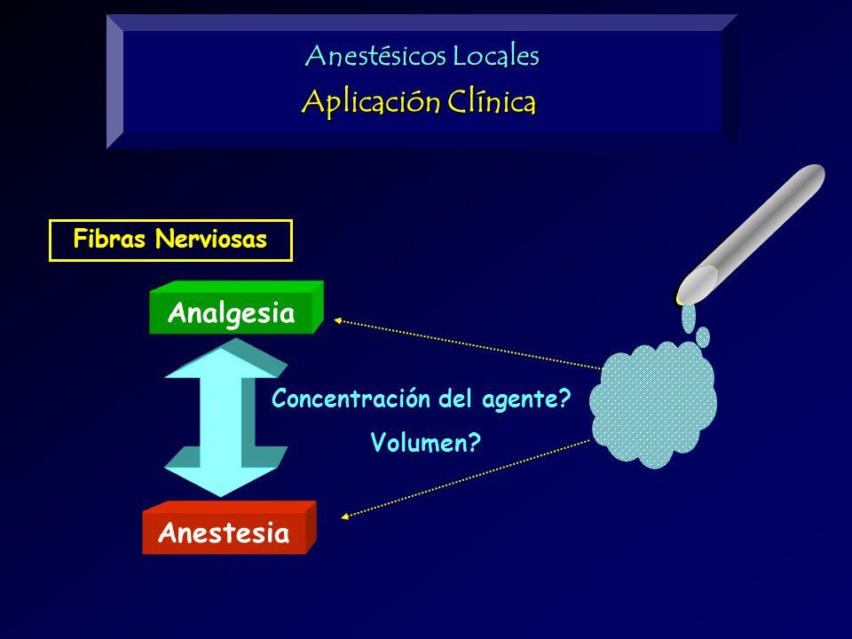 Aplicación Clínica Anestésicos Locales Analgesia Anestesia Volumen