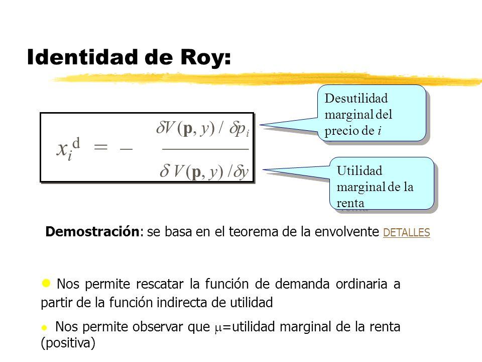 xid = – ————  V (p, y) /y Identidad de Roy: