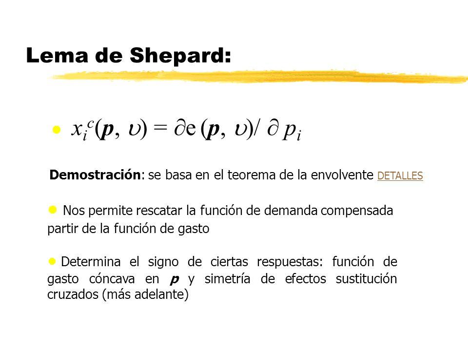 Lema de Shepard: xic(p, u) = e (p, u)/  pi. Demostración: se basa en el teorema de la envolvente DETALLES.