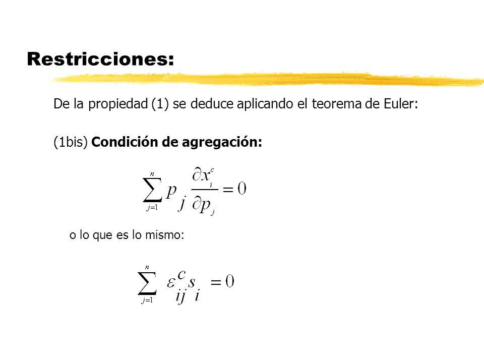 Restricciones: De la propiedad (1) se deduce aplicando el teorema de Euler: (1bis) Condición de agregación:
