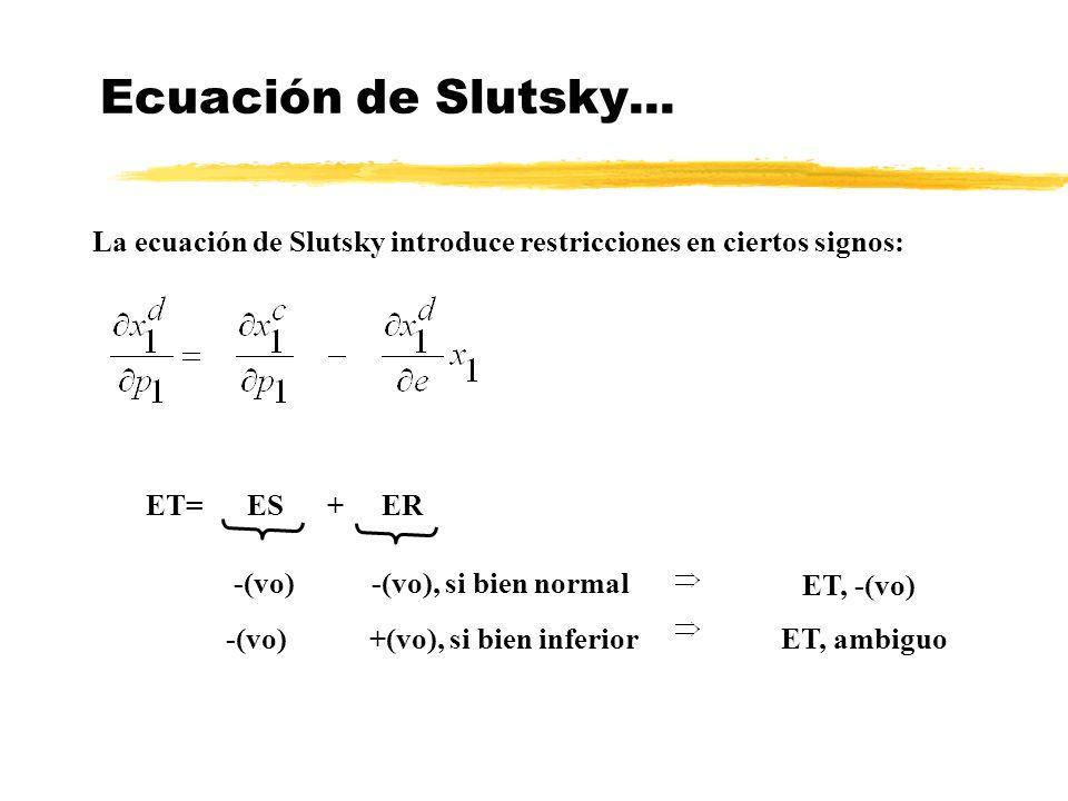 Ecuación de Slutsky... La ecuación de Slutsky introduce restricciones en ciertos signos: ET= ES + ER.