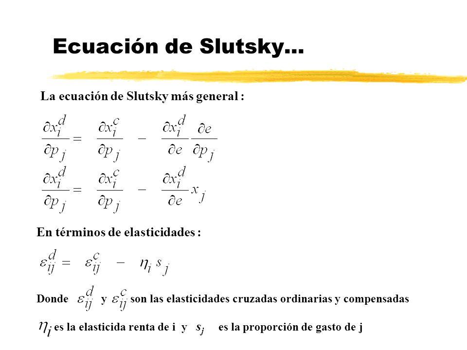 Ecuación de Slutsky... La ecuación de Slutsky más general :