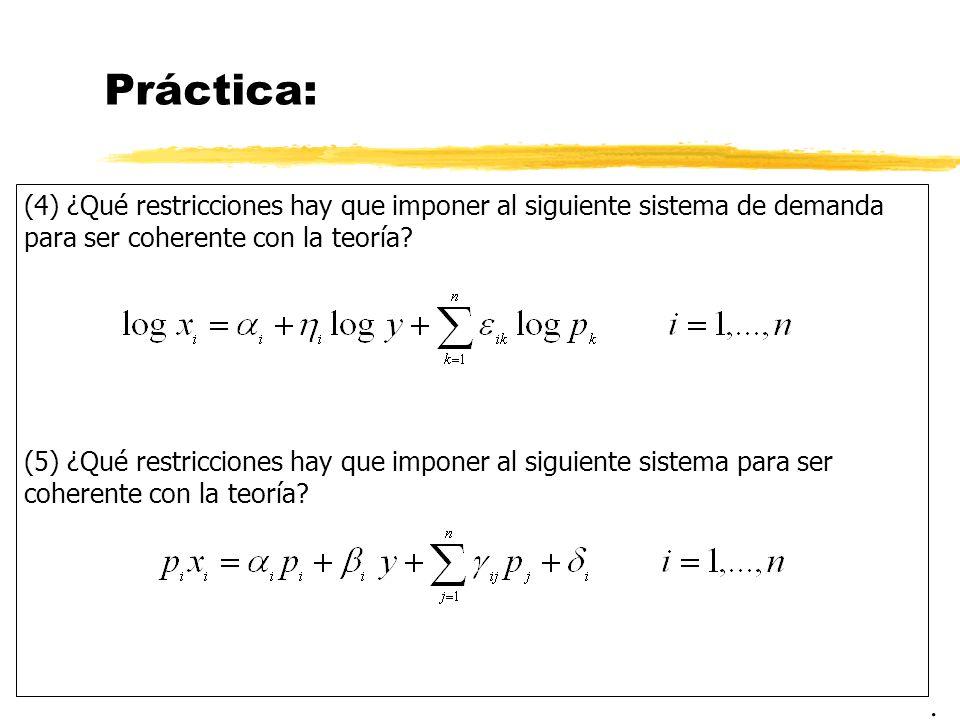 Práctica: (4) ¿Qué restricciones hay que imponer al siguiente sistema de demanda para ser coherente con la teoría