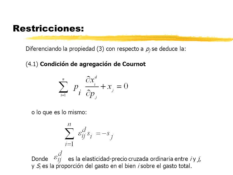 Restricciones: Diferenciando la propiedad (3) con respecto a pj se deduce la: (4.1) Condición de agregación de Cournot.