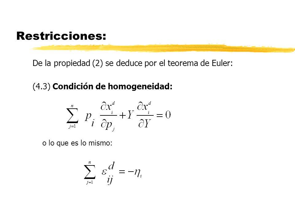 Restricciones: De la propiedad (2) se deduce por el teorema de Euler: