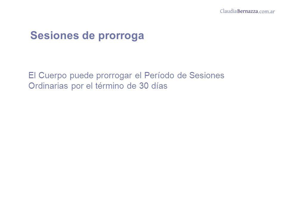 Sesiones de prorroga El Cuerpo puede prorrogar el Período de Sesiones