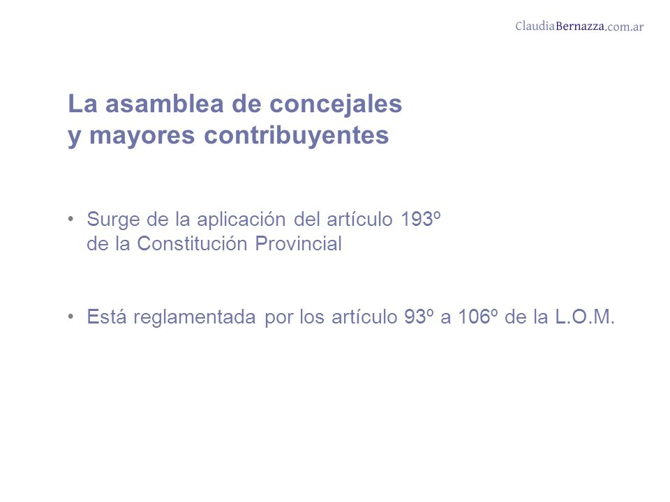 La asamblea de concejales y mayores contribuyentes