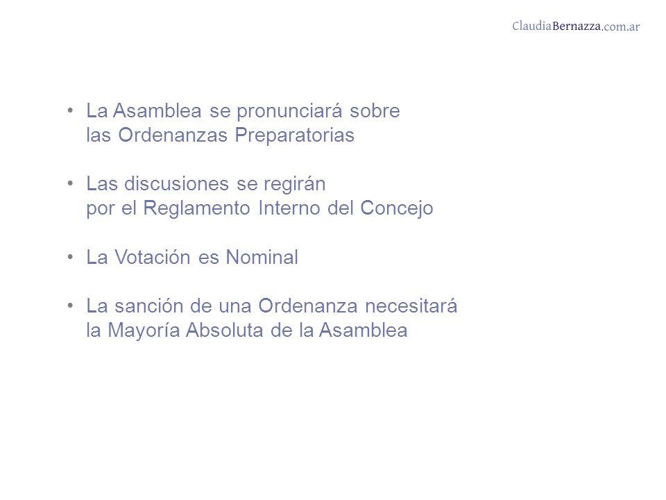 La Asamblea se pronunciará sobre las Ordenanzas Preparatorias