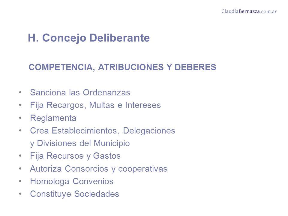 H. Concejo Deliberante COMPETENCIA, ATRIBUCIONES Y DEBERES