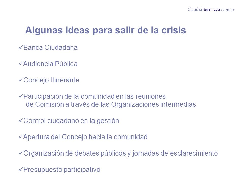 Algunas ideas para salir de la crisis