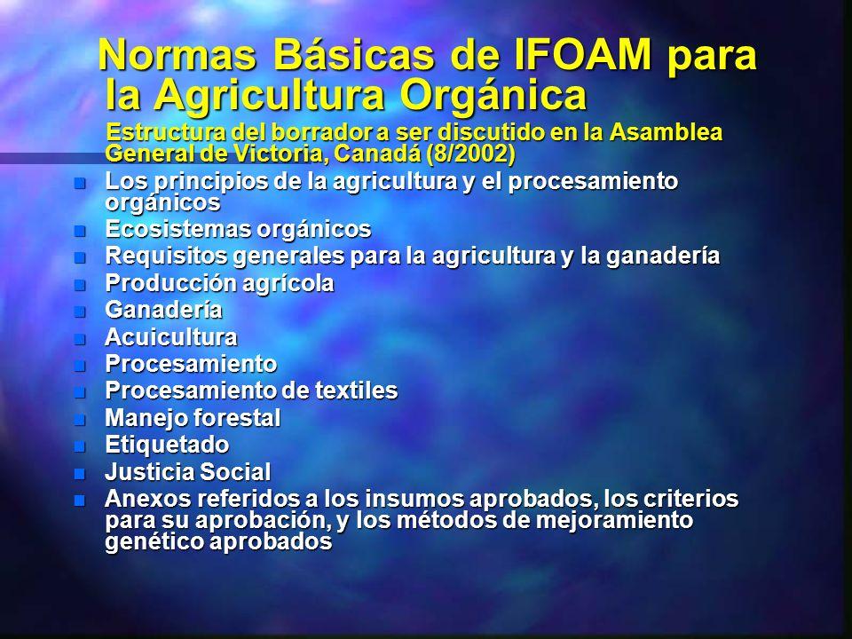 Normas Básicas de IFOAM para la Agricultura Orgánica