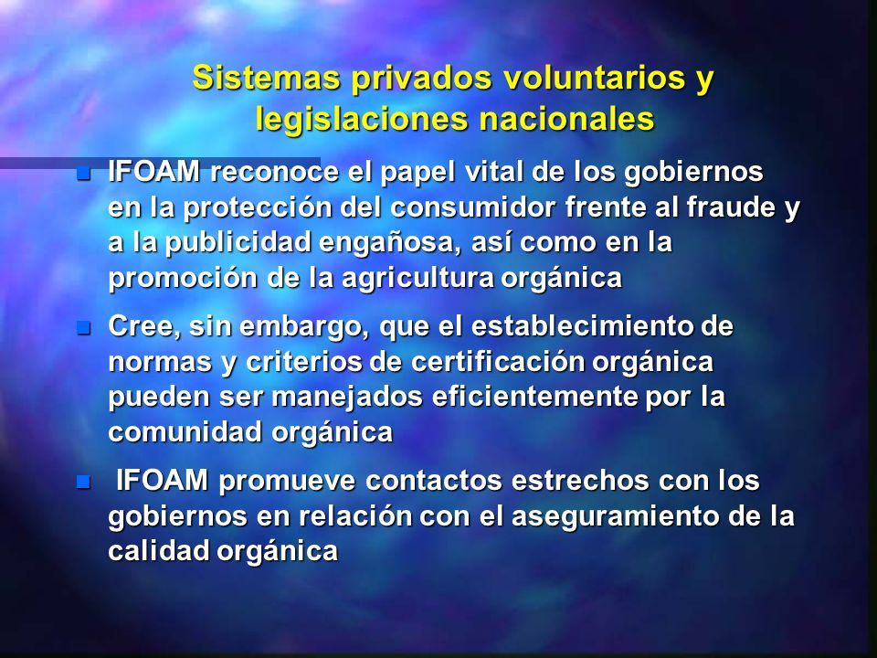 Sistemas privados voluntarios y legislaciones nacionales