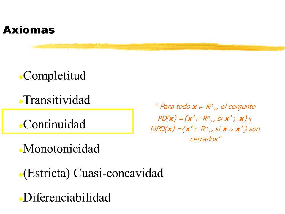 (Estricta) Cuasi-concavidad Diferenciabilidad