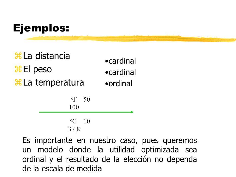 Ejemplos: La distancia El peso La temperatura cardinal ordinal