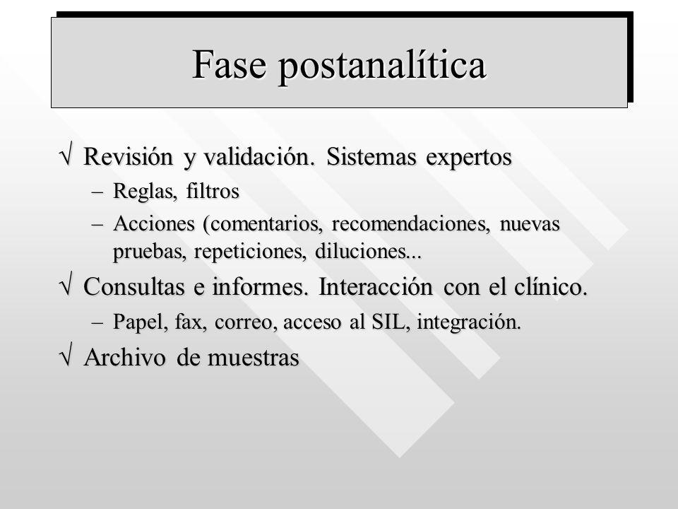 Fase postanalítica Revisión y validación. Sistemas expertos
