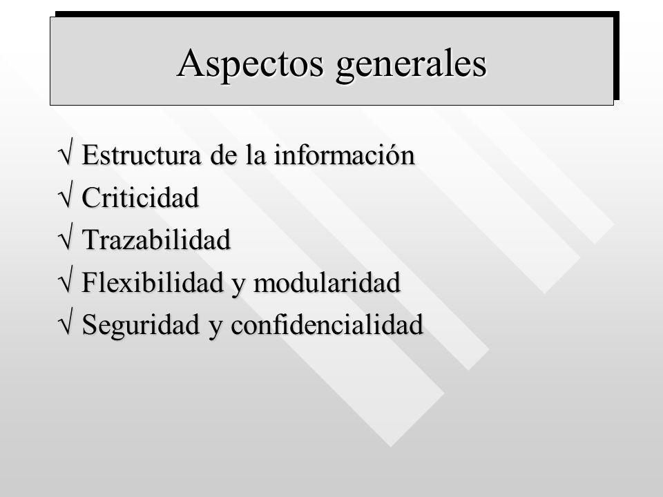 Aspectos generales Estructura de la información Criticidad