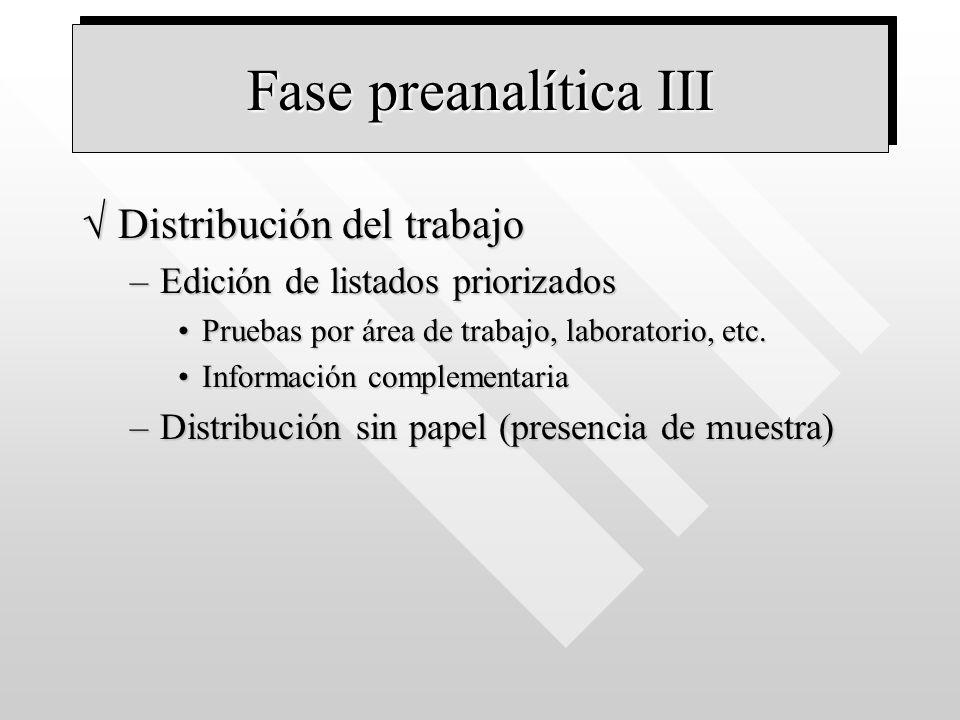 Fase preanalítica III Distribución del trabajo