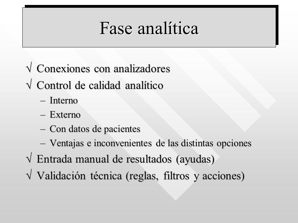 Fase analítica Conexiones con analizadores