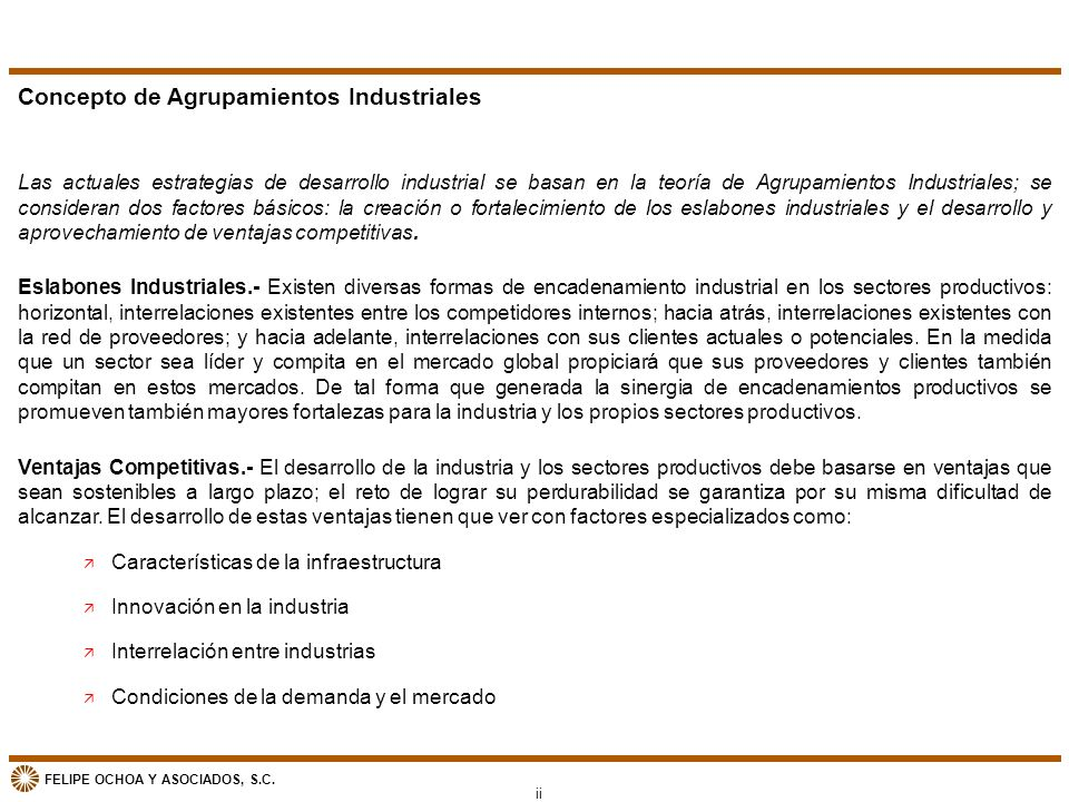 Concepto de Agrupamientos Industriales