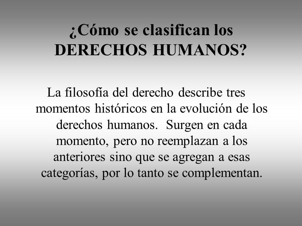 ¿Cómo se clasifican los DERECHOS HUMANOS