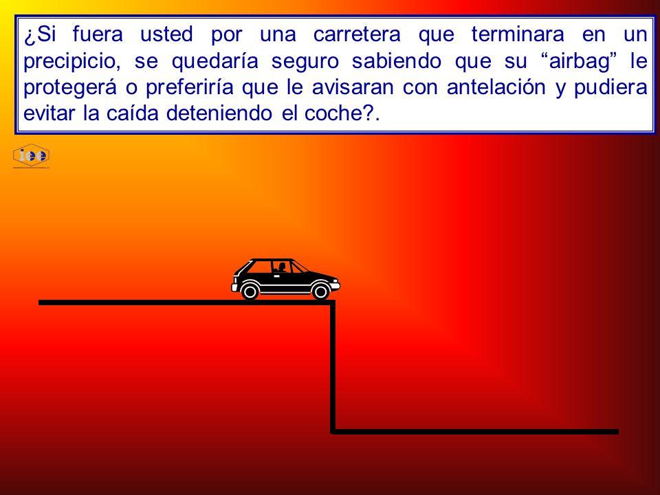 ¿Si fuera usted por una carretera que terminara en un precipicio, se quedaría seguro sabiendo que su airbag le protegerá o preferiría que le avisaran con antelación y pudiera evitar la caída deteniendo el coche .