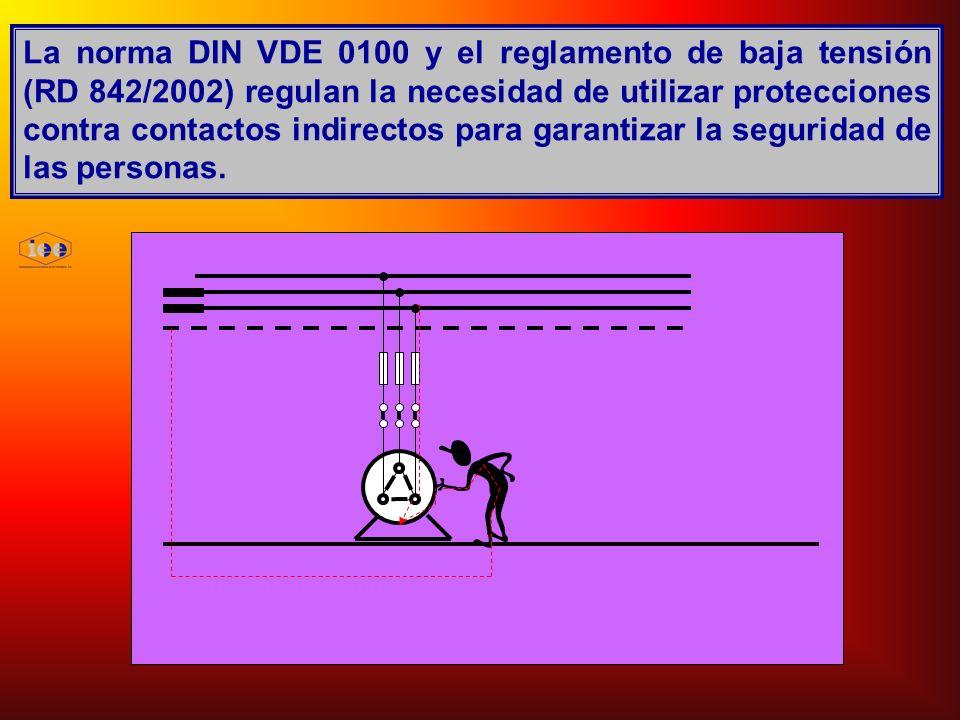 La norma DIN VDE 0100 y el reglamento de baja tensión (RD 842/2002) regulan la necesidad de utilizar protecciones contra contactos indirectos para garantizar la seguridad de las personas.