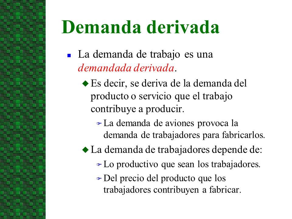Demanda derivada La demanda de trabajo es una demandada derivada.