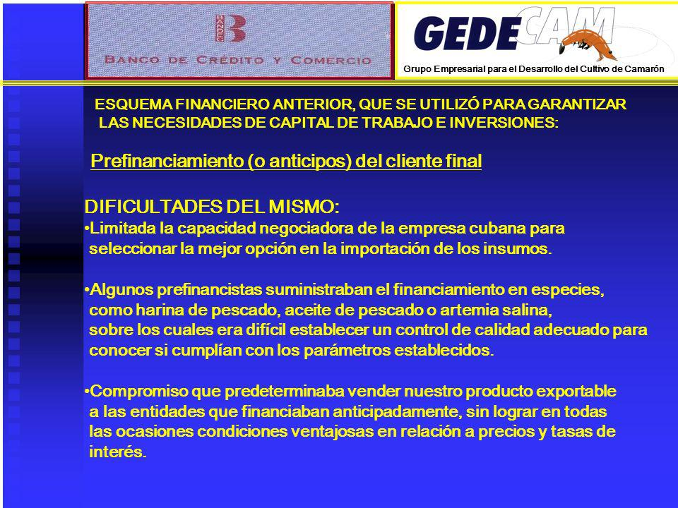 Prefinanciamiento (o anticipos) del cliente final