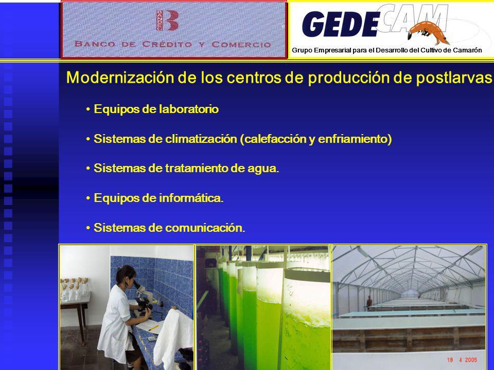Modernización de los centros de producción de postlarvas.