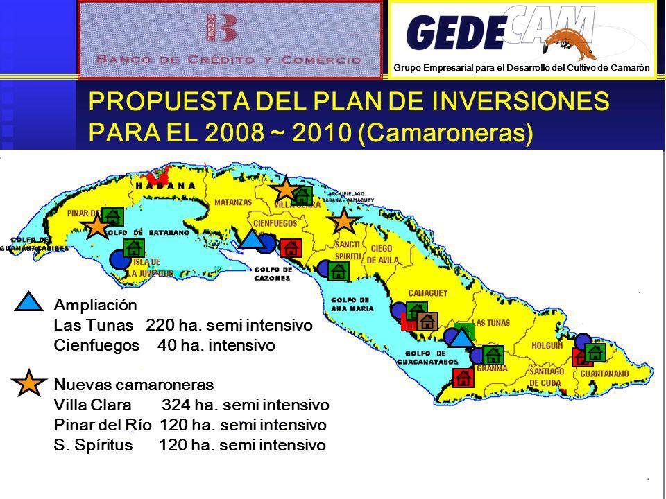 PROPUESTA DEL PLAN DE INVERSIONES PARA EL 2008 ~ 2010 (Camaroneras)