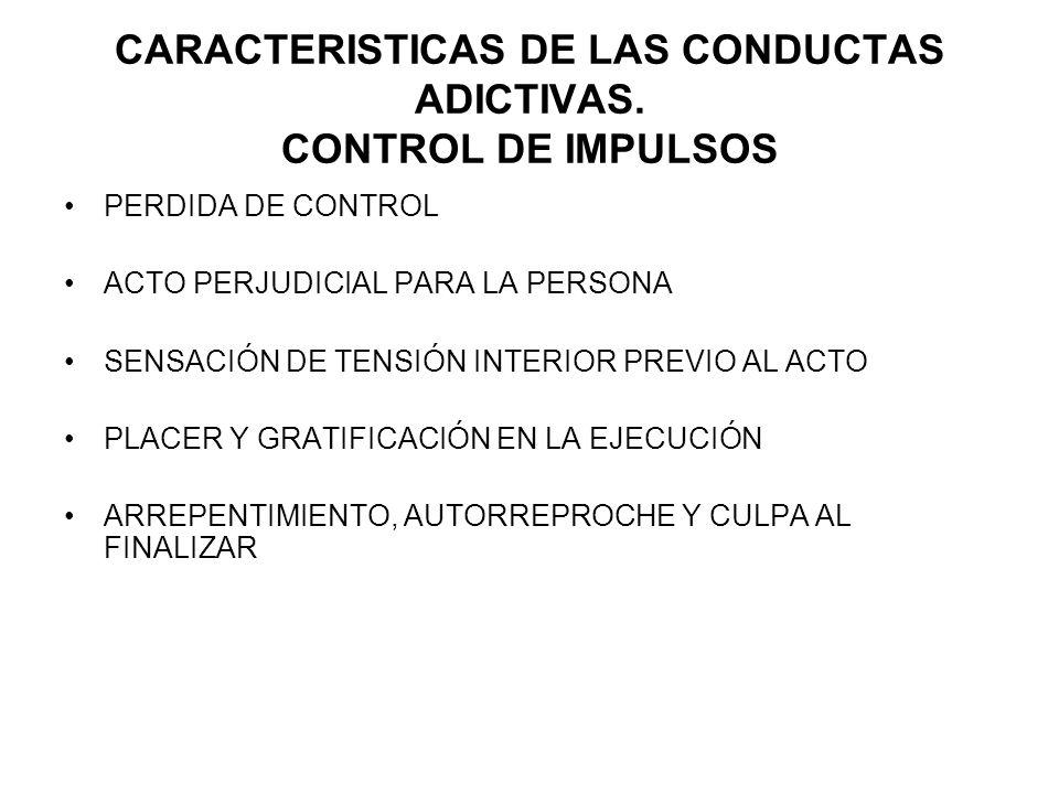 CARACTERISTICAS DE LAS CONDUCTAS ADICTIVAS. CONTROL DE IMPULSOS